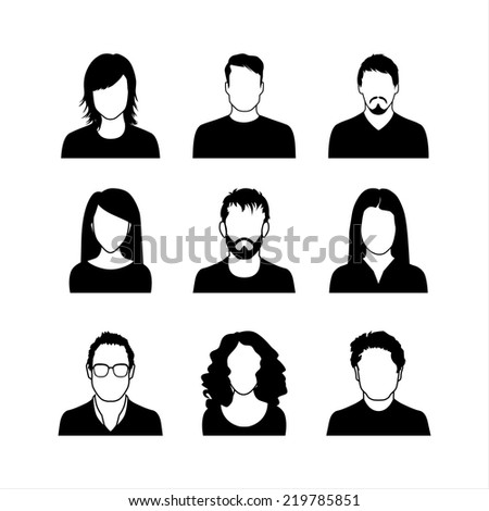 User Icons and People Icons in flat modern style. Vector illustration. Man and Woman