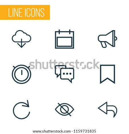 User icons line style set with mark, second meter, cloud and other announcement elements. Isolated vector illustration user icons.