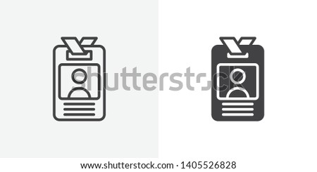 User id badge icon. Employee ID Card line and glyph version, Identification card outline and filled vector sign. linear and full pictogram. Symbol, logo illustration. Different style icons set