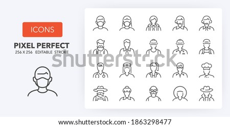 User interface and professions avatars. thin line icon set. Outline symbol collection. Editable vector stroke.