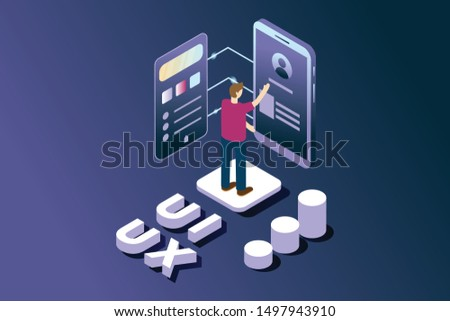 User interface and user experience developer in isometric illustration style