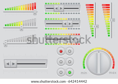 User interface buttons. Volume bars and round knob switch. Vector 3d illustration