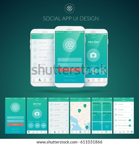 User interface design concept with different screens buttons and web elements for mobile social applications vector illustration