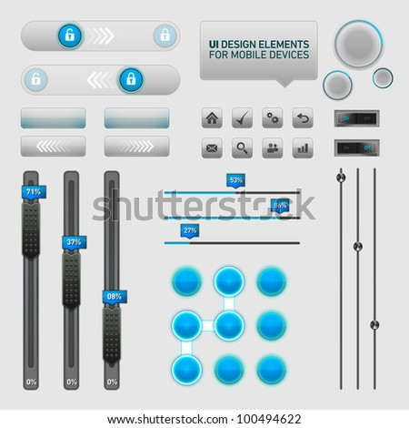 User Interface Design Elements | EPS10 Vector Graphic | Layers Organizes and Named