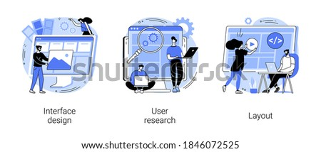 User interface development abstract concept vector illustration set. Interface design, user research, layout, landing page, responsive design, usability test, online survey, abstract metaphor.
