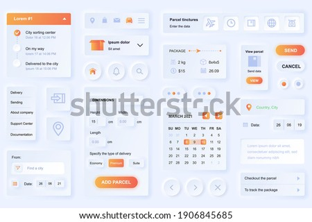User interface elements for delivery mobile app. Unique neumorphic design UI, UX, GUI, KIT elements template. Neumorphism style. Different form, components, button, menu, logistic vector icons.