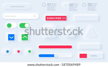 User interface elements for mobile app in style Neumorphic UI, UX set. Workflow graphic elements in Skeuomorph Trend Design. Elements for smart technology circle, square, triangle, rectangle. Vector