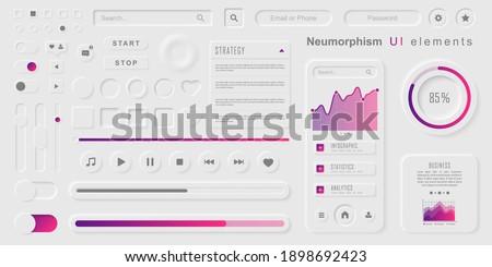 User interface elements for mobile app. Neumorphism User interface design kit. Neumorphism UI UX  icons set.