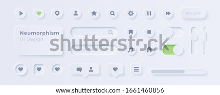 User interface elements for mobile app. UI icons set. Vector. Simple modern design. For mobile, web, social media, business. Neumorphism. Flat style eps10 illustration. White color.