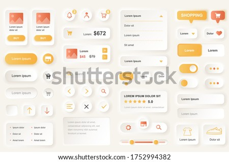 User interface elements for shopping mobile app. Shopping platform navigation, product rating and price gui templates. Unique neumorphic ui ux design kit. Manage, search and payment form and component