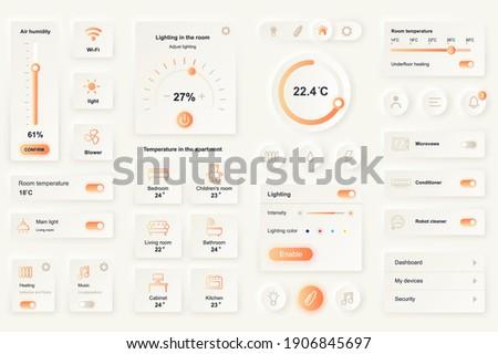 User interface elements for smart home mobile app. Unique neumorphic design UI, UX, GUI, KIT elements template. Neumorphism style. Different form, components, button, menu, vector icons.
