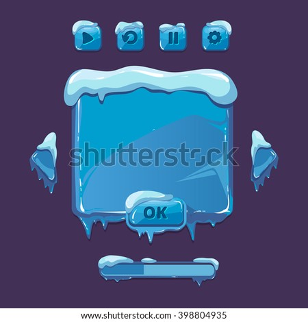 User interface for winter game. UI elements with icicles ice snow. Button gui. Vector illustration