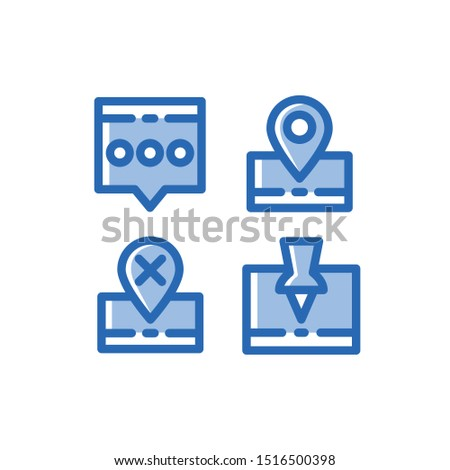 User Interface Icon Set , Chatting, Pin , Pinned, Off Location, Location, Gps , Vector Illustration.