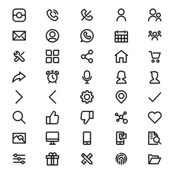 User Interface Icon Set Vector Outline
