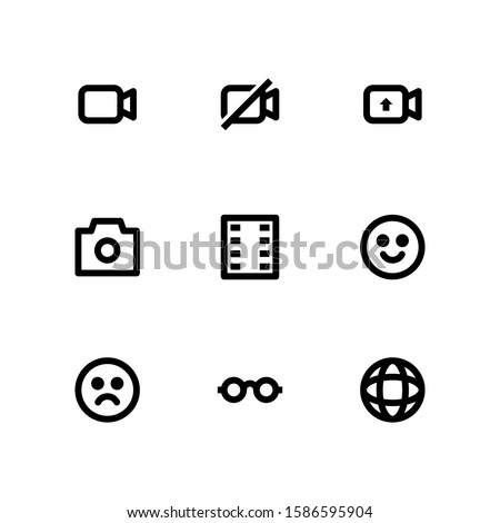 User Interface icon set = video, video off, upload video, camera, film reel, smile, bad, eyeglasses, browser