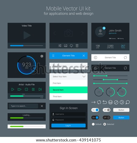 User Interface Kit, UI Elements, Vector EPS 10 Illustration