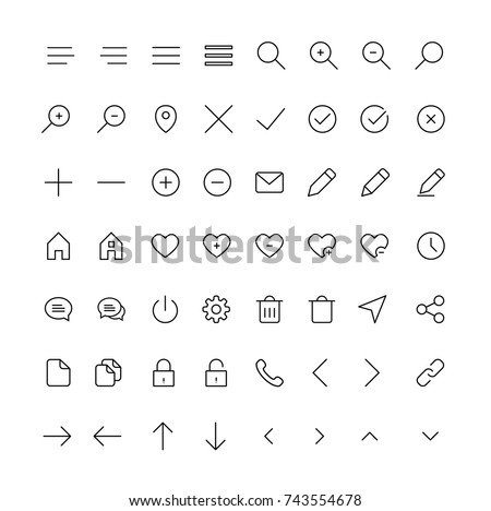 User Interface line Icons for regular design