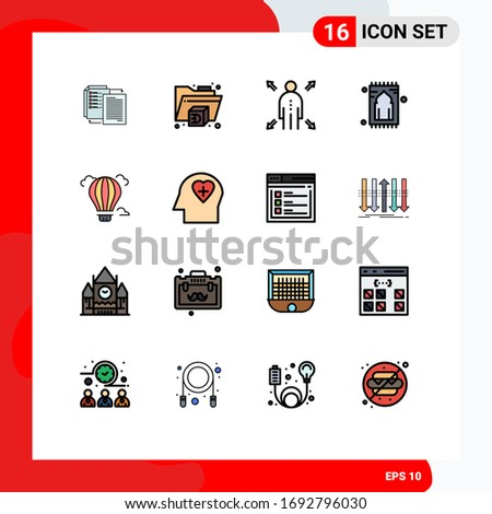 User Interface Pack of 16 Basic Flat Color Filled Lines of air; balloon; man; namaz; rug Editable Creative Vector Design Elements