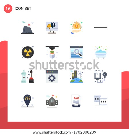 User Interface Pack of 16 Basic Flat Colors of radioactive; subtract; speaker; minus; hand Editable Pack of Creative Vector Design Elements
