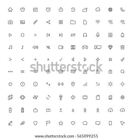 user interface vector line icons set