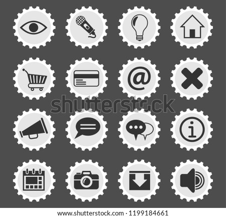 user interface web icons stylized postage stamp for user interface design