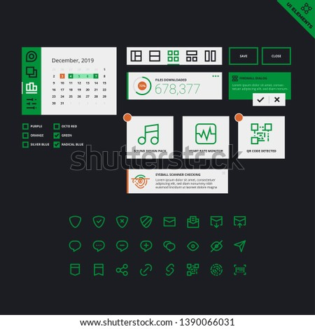 User Interface Widgets Set. Design System. Interface Elements Templates in flat vector style for web, mobile and business design.