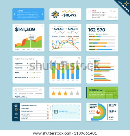 User Interface Widgets Set. Interface Elements Templates in flat vector style for web, mobile and business design.