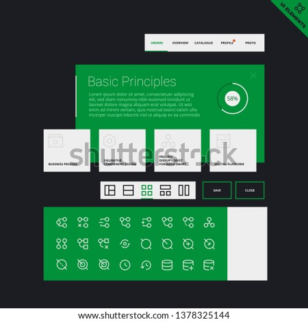 User Interface Widgets Set. Interface Elements Templates in flat vector style for web, mobile and business design