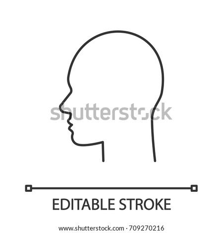 User linear icon. Human head. Thin line illustration. Profile contour symbol. Man face side view. Vector isolated outline drawing. Editable stroke