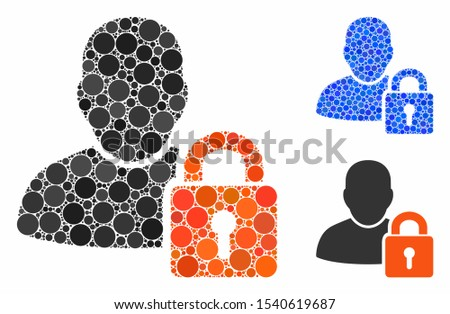 User locked mosaic of round dots in various sizes and color tinges, based on user locked icon. Vector round dots are grouped into blue composition. Dotted user locked icon in usual and blue versions.