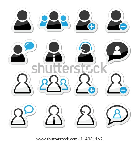 User man icon labels set for website