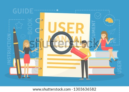 User manual concept. Guide book or instruction. Guidance and tutorial for for users. Handbook and people around. Vector illustration in cartoon style