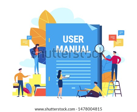 User manual concept. Small people with guide instruction or textbooks. User reading guidebook and writting guidance. Vector illustration. Manual book instruction, handbook help guide