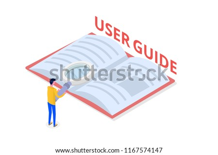 User manual, guide, instruction, guidebook, Handbook isometric concept. Vector illustration.
