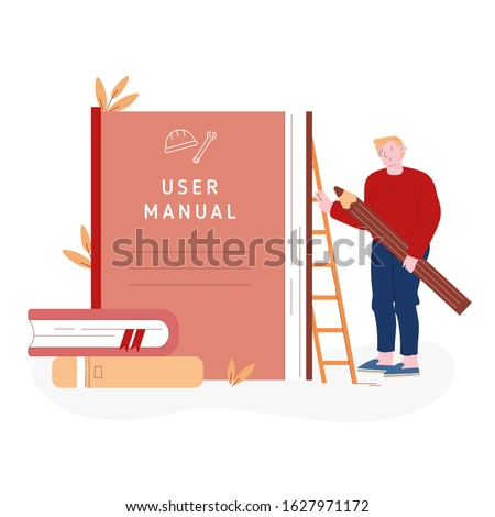 User Manual Tutorial Concept. User Reading Guidebook and Writing Technical Instructions. Male Character with Huge Pencil Stand near Guidance Booklet or Guided Textbook Cartoon Flat Vector Illustration