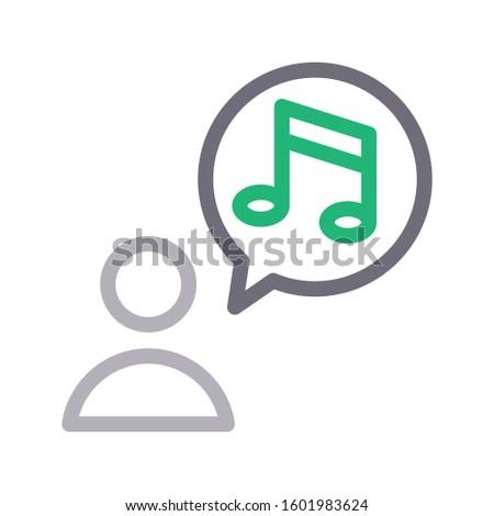 user music vector color line icon  Foto stock ©