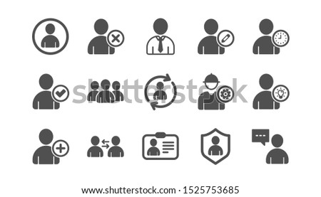 User person icons. Profile, Group and Support. People classic icon set. Quality set. Vector