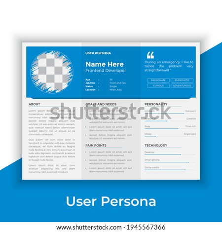 User Persona Document Template Vector Illustration. Examples of User Personas template. Persona Template for ui ux designer. User Persona vector horizontal template with blue color.  Foto stock ©