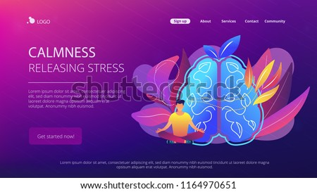 User practicing mindfulness meditation in lotus pose. Calmness and releasing stress concept landing page. Mindful meditating, consciousness and focusing. Vector illustration on ultraviolet background.
