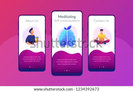 User practicing mindfulness meditation in lotus pose. Calmness and releasing stress concept landing page. Mindful meditating, consciousness and focusing. UI UX GUI app interface template.