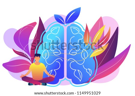 User practicing mindfulness meditation in lotus pose. Mindful meditating, mental calmness and self-consciousness, focusing and releasing stress concept, violet palette. Vector isolated illustration. ストックフォト ©