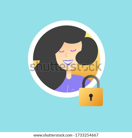 User profile id security protection icon vector or personal privacy and private access account data with lock symbol flat, concept of secret member authentication or identification modern design