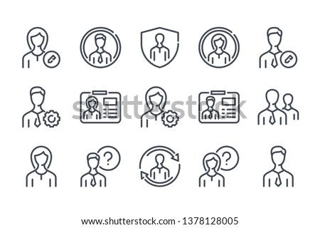 User profile related line icon set. Avatar settings linear icons. Profile services outline vector sign collection.