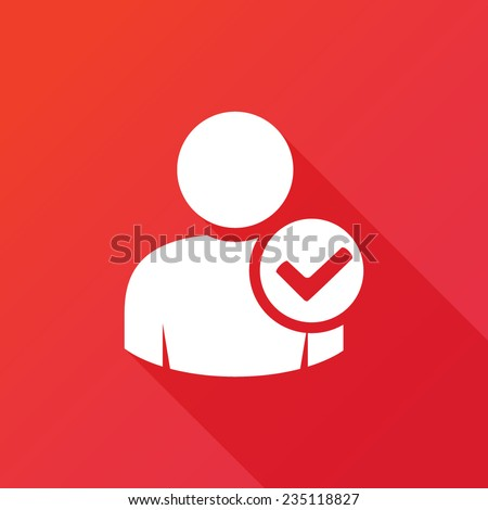 User profile sign web icon with check mark glyph. Account check icon. Vector illustration design element. Modern design flat style icon with long shadow effect. Accept account sign