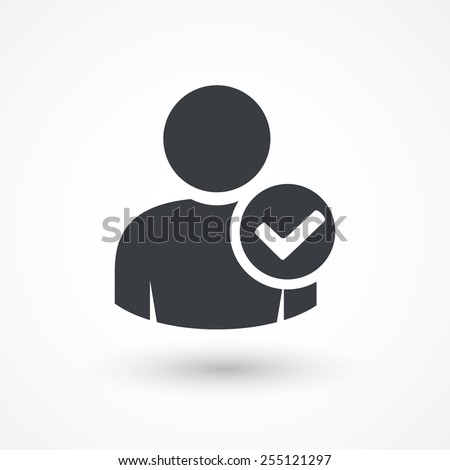 User profile sign web icon with check mark glyph. User authorized vector illustration design element. Flat style design icon. Account verified icon. Checked verified profile symbol. User accepted. Ok