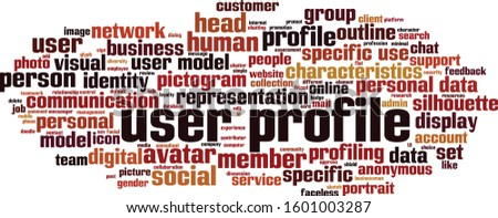 User profile word cloud concept. Collage made of words about user profile. Vector illustration