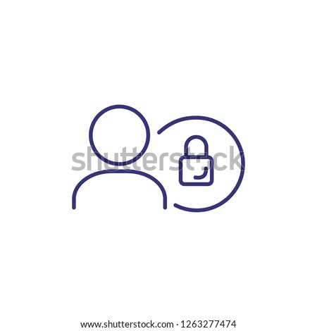 User protection line icon. Person with lock in circle on white background. Security concept. Vector illustration can be used for topics like program, internet, computer, coding, technology