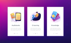 User reading ebook on tablet and books. Searchable digital library, education online, e-learning, easy access knowledge and transportation concept, violet palette. App interface template.