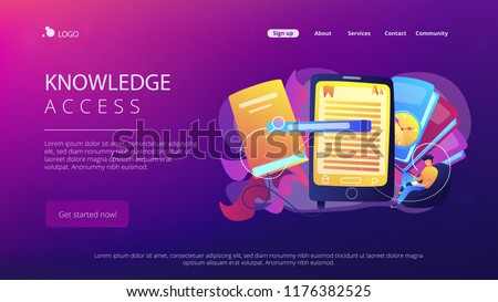 User reading ebook on tablet and books. Searchable digital library, education online, e-learning, easy access knowledge and transportation concept, violet palette. Website landing web page.