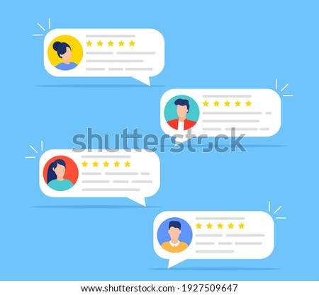 User reviews and feedback concept. User reviews online. Customer feedback review experience rating concept. User client service message. Vector illustration in flat style